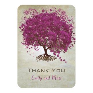 Lila Herz-Blatt-Baum-Hochzeit lädt ein Karte