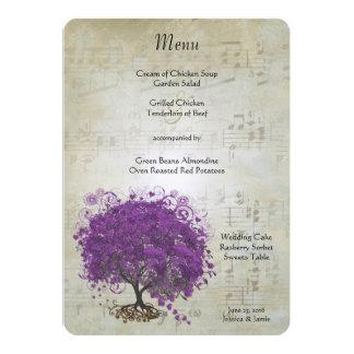 Lila Herz-Blatt-Baum-Hochzeits-Menü 12,7 X 17,8 Cm Einladungskarte
