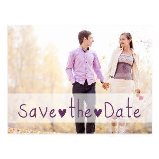 Lila Herz-Foto Save the Date Postkarten