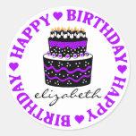 Lila Herz-Geburtstags-Kuchen Runde Sticker