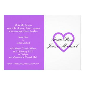 Lila Herz-Hochzeits-Einladung Karte