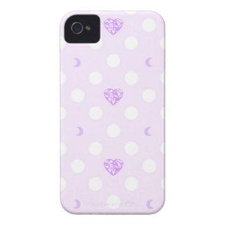 Lila Herz-Kristalle, Monde und Tupfen iPhone 4 Hüllen