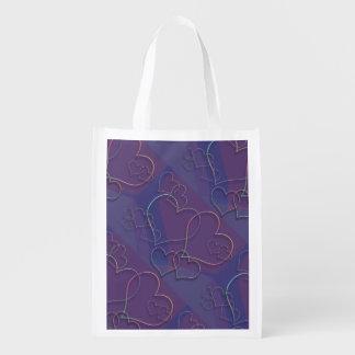 Lila Herz-Muster Wiederverwendbare Einkaufstasche