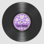 Lila Herz-personalisiertes Vinylrekordalbum Sticker