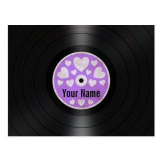Lila Herz-personalisiertes Vinylrekordalbum Postkarten