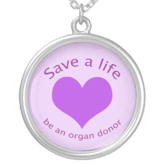Lila Herz retten eine Lebenorganspendenhalskette Halskette Mit Rundem Anhänger