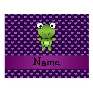 Lila Herzen des personalisierten Namensfrosches Postkarte