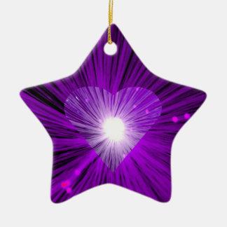 Lila Herzverzierungsstern Keramik Ornament