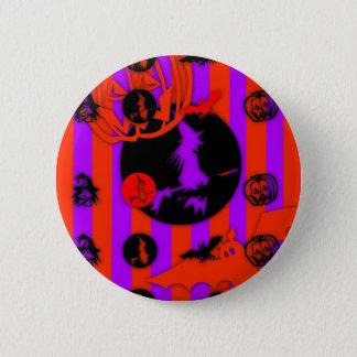 Lila Hexe-Knopf elektrischer FarbPop-Halloweens Runder Button 5,1 Cm