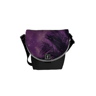 Lila Himmel-Palmen-Bote-Tasche Kuriertaschen