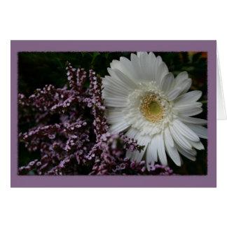 Lila Hintergrund der weißen Blume Grußkarte
