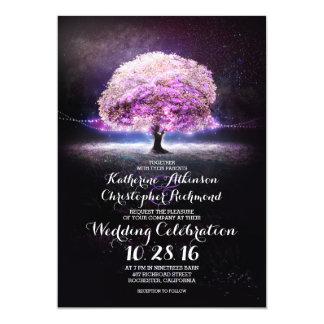 lila Hochzeit des romantischen Schnurlicht-Baums 12,7 X 17,8 Cm Einladungskarte