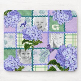 Lila Hydrangea Instagram Foto-Steppdecken-Collage Mousepad