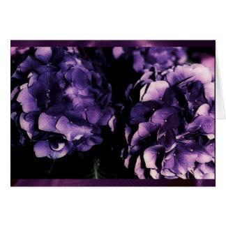 Lila Hydrangea mit Blumen, Karten-Vorlagen Grußkarte