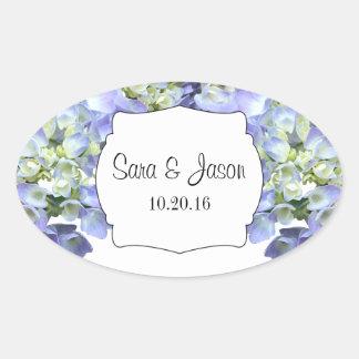 Lila Hydrangea personalisierte Hochzeit Ovaler Aufkleber