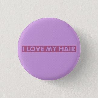 Lila i-Liebe mein Haar-mutiger Text-Ausschnitt Runder Button 2,5 Cm