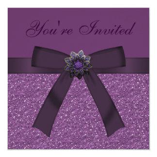 Lila Imitat-Glitter, Bogen u. Blumen-Juwel lädt Quadratische 13,3 Cm Einladungskarte