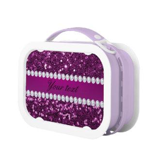 Lila Imitat-Glitter und Diamanten Brotdose
