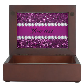 Lila Imitat-Glitter und Diamanten Erinnerungsdose