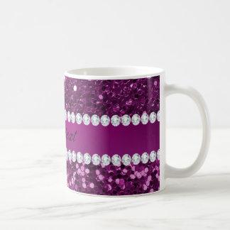 Lila Imitat-Glitter und Diamanten Kaffeetasse