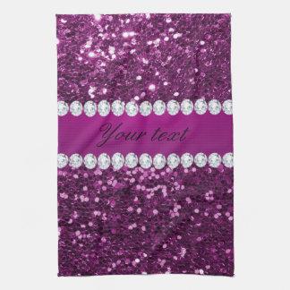 Lila Imitat-Glitter und Diamanten Küchentuch
