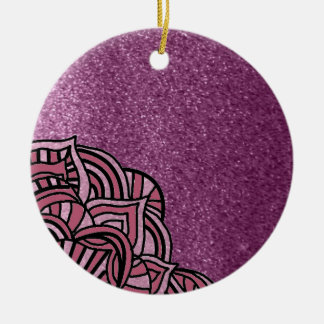Lila Imitat-Glitzer mit Medaillon-Entwurf Rundes Keramik Ornament