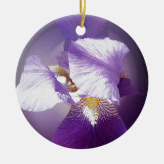 lila Iris-Blume Keramik Ornament