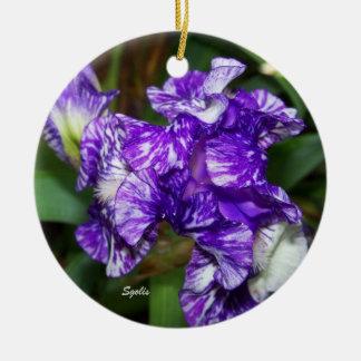 Lila Iris-botanische Blumenverzierung Keramik Ornament