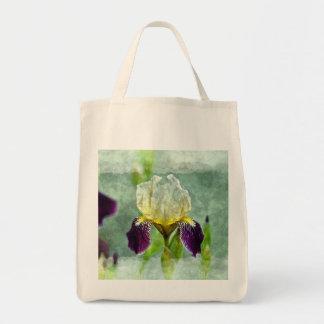 Lila Iris-Impressionist-Blumenmalerei-Kunst Tragetasche