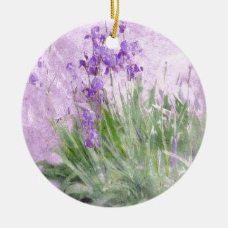 Lila Iris Keramik Ornament