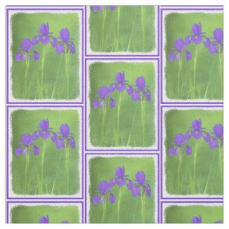 Lila Iris-Malerei - ursprüngliche Blumen-Kunst Stoff