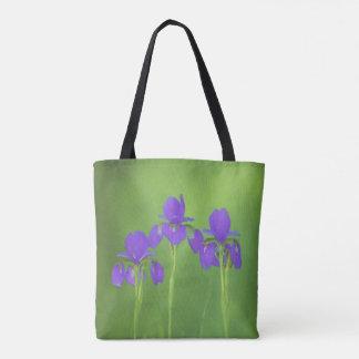 Lila Iris-Malerei - ursprüngliche Blumen-Kunst Tasche