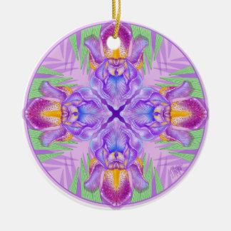 Lila Iris-Naturmandala-Verzierung Keramik Ornament