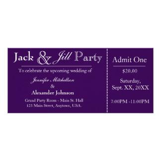 Lila Jack-und Jill-Duschen-Karten-Einladung Werbekarte