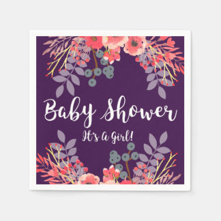 Lila Juwel-Tonwatercolor-Blumen-Baby-Dusche Servietten