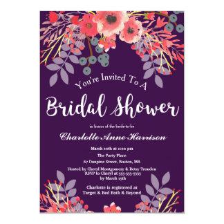 Lila Juwel-Tonwatercolor-Blumen-Brautparty Karte