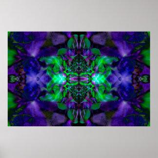Lila Kaleidoskop-Blumenmuster Poster