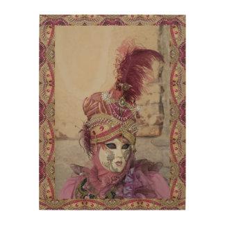 Lila Karnevals-Kostüm, Venedig Holzdruck