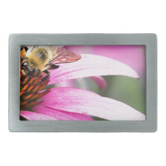 Lila Kegel-Blume mit Biene Rechteckige Gürtelschnalle