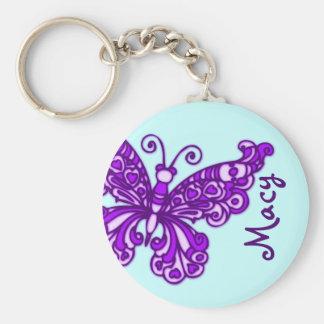 Lila keychain Name des blauen Himmels der Schmette Standard Runder Schlüsselanhänger