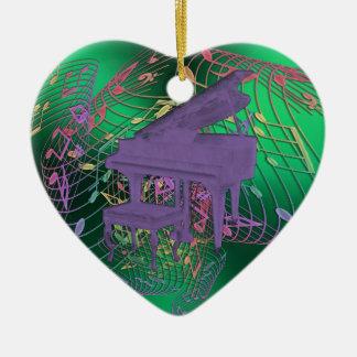 Lila Klavier-Musiknoten-Herz-Weihnachtsverzierung Keramik Ornament