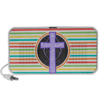 Lila Kreuz Helle Regenbogen-Streifen iPod Speaker
