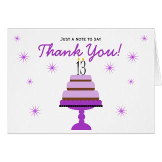 Lila Kuchen-13. Geburtstag danken Ihnen Karte