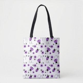 Lila Lavendel-Marienkäfer-Dame Bug Floral Teen Tasche