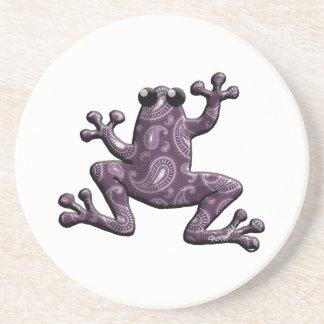 Lila Lavendel-Paisley-Frosch Getränkeuntersetzer