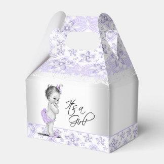 Lila Lavendel und graue Baby-Dusche Geschenkschachtel