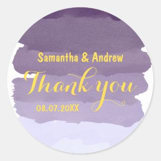 Lila Lavendel Watercolor ombre Streifen danken Runder Aufkleber