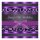 Lila Leopard-Mädchen-13. Geburtstags-Party Individuelle Ankündigung