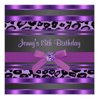 Lila Leopard-Mädchen-13 Geburtstags-Party Individuelle Ankündigung