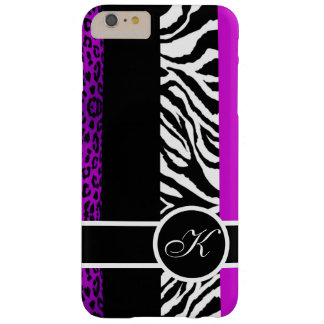 Lila Leopard-und Zebra-Tierdruck-Monogramm Barely There iPhone 6 Plus Hülle